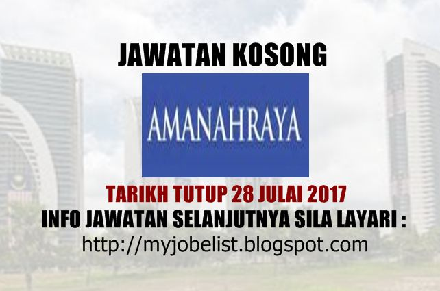 Jawatan Kosong Amanah Raya Berhad - 28 Julai 2017  Jawatan kosong di Amanah Raya Berhad Julai 2017. Permohonan adalah dipelawa daripada warganegara Malaysia yang berkelayakan untuk mengisi kekosongan jawatan kosong terkini di Amanah Raya Berhad sebagai :1. EXECUTIVE COMPLIANCE MONITORING DEPARTMENT2. EXECUTIVE OPERATIONS DEPARTMENT (CUSTODY UNIT)3. CLERK4. SENIOR EXECUTIVE/ EXECUTIVE LEGAL & COMPLIANCE DEPARTMENTTarikh tutup permohonan 17 - 28 Julai 2017 Lokasi : Kuala Lumpur Sektor : Berkanun  Interested candidates are invited to apply via EMAIL by submitting COMPLETE resume together with current and expected salary to: CHIEF EXECUTIVE OFFICERs OFFICE AMANAHRAYA TRUSTEES BERHAD Email address siti.zahara@arb.com.my / suzana.mohamed@arb.com.my Please state the position title applied for in Subject columnIklan jawatan dan syarat kelayakan disini via Myjonlist Jawatan Kosong