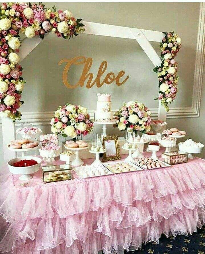 the chic technique bridal shower sweets table decor idea