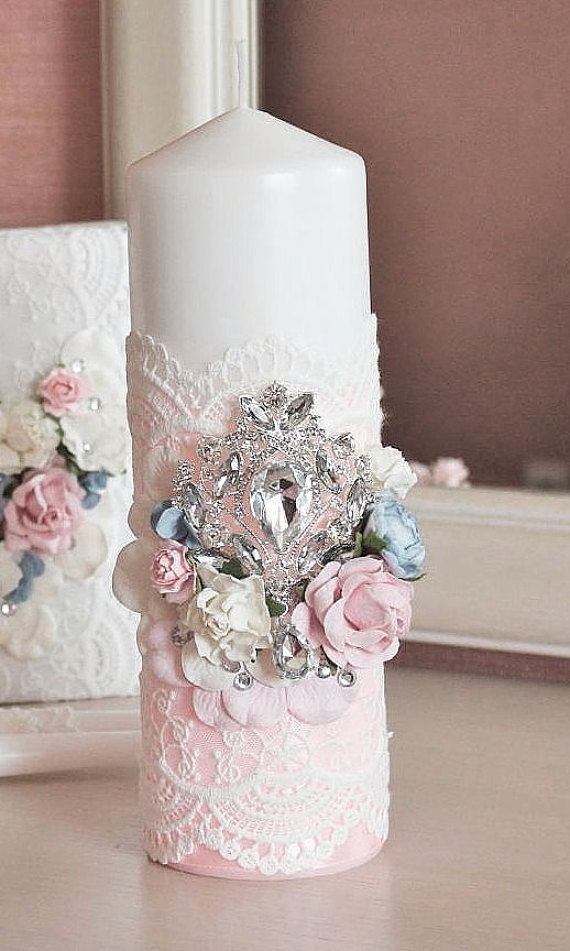 Unity Candle Set with brooch and flowers Church by Malvawedding