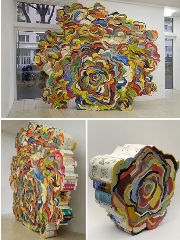 Amazing art made from old books by Jonathan Callan. Although, I hope none of the books were good ones!