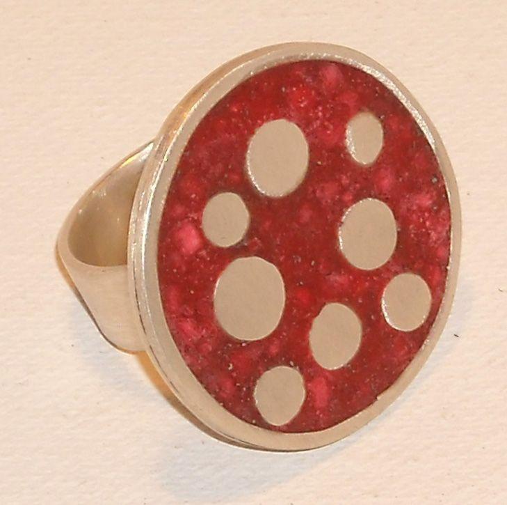 anillo plata y mosaico