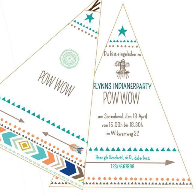 einladungskarte indianer personalisiert  kinderfeestjes