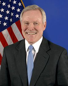 Ray Mabus, Secretary of the Navy since June 18, 2009. An American politician and member of the Democratic Party. Served as the United States Ambassador to Saudi Arabia from 1994 to 1996. After some controversies over the naming of Navy sea vessels, on April 16 2012, the Navy Secretary returned to Naval tradition of naming certain warships after former U.S. presidents, announcing the next Zumwalt-class destroyer be named the USS Lyndon B. Johnson.