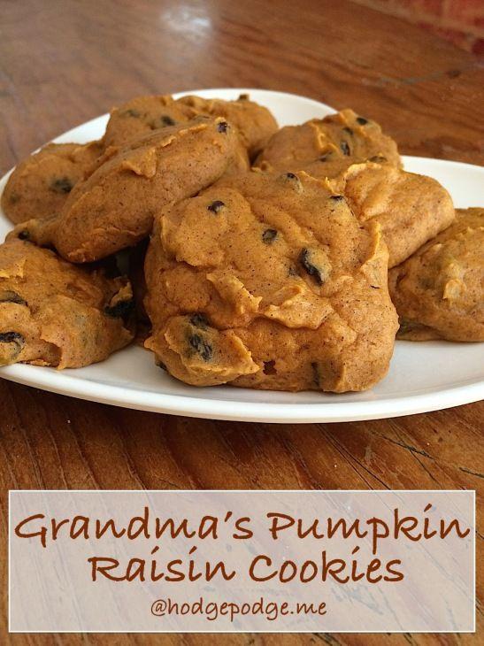 Yum! Grandma's Pumpkin Raisin Cookies Recipe