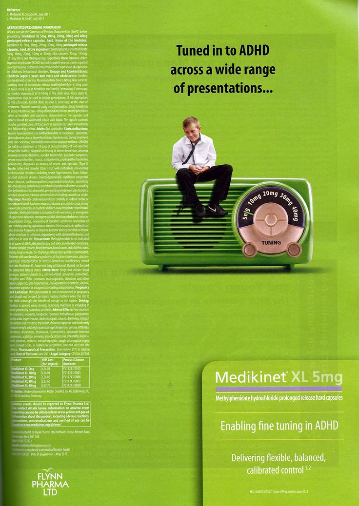 "Medikinet XL promoted by FLYNN PHARMA Ltd  2 Full page adverts in BJPsych, Sept 2013.  ""Tuned into ADHD across a wide range of presentations . . . enabling fine tuning in ADHD"""