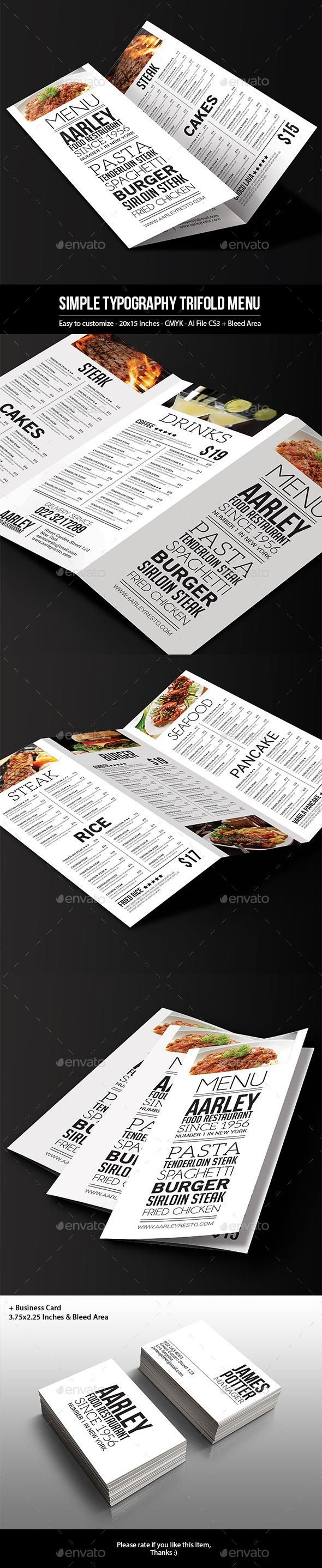 Simple Typography Trifold Menu 13 best Brochure