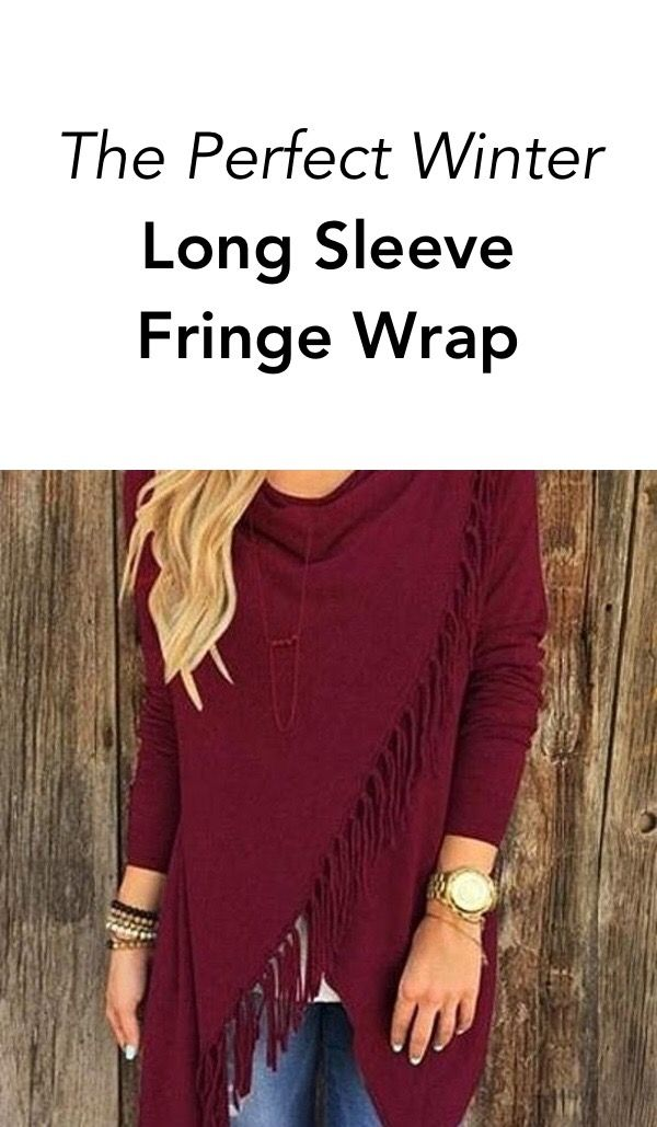 Warm and versatile, wrap yourself in fashion this winter with this Long Sleeve Fringe Front Shirt.