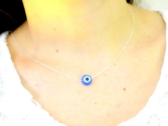 opal round evil eye necklace square opal jewelry by TURKISHNAZAR opal round evil eye necklace, square opal jewelry, 925 streling silver chain, white, baby, blue nazar charm, blue eye protection energy gift. Opal pendant 925 k sterling silver chain petite elegant turkish necklace.