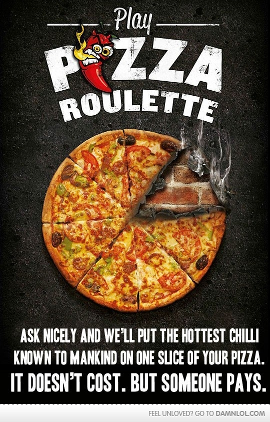 Pizza Roulette!: Hells Pizza, Pizza Roulette, Food, Ads Campaigns, Pizza Crusts Recipes, Brilliant Ideas, Fun Ideas, Great Ideas, New Zealand