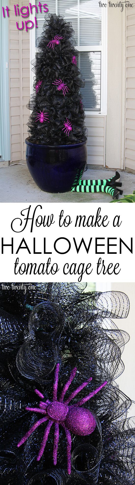 How to make a Halloween tomato cage tree!