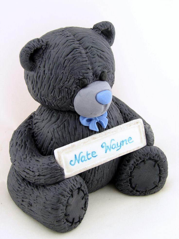 Naming Day Teddy cake topper.