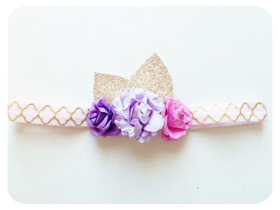Baby girl headband gold headband Purple flower by AllureDesignsAU