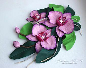 Flor de cuero orquídea rosa, flor de orquídea corsage, regalo de joyería de cuero para su broche orquídea, joyería de cuero, cuero de la orquídea,