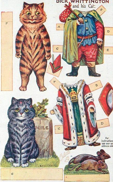 DICK WHITTINGTON AND HIS CATCat Paper, Louis Wain, Paper Dolls, Wain Cat, Dick Whittington, Whittington Paper, Cut Out, Paperdolls, Fairies Tales