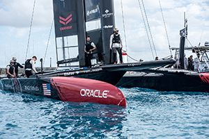 Aerospace Technology Takes America's Cup Racing Team to New Heights - Parker Logo on ORACLETEAMUSA yacht - Parker Aerospace