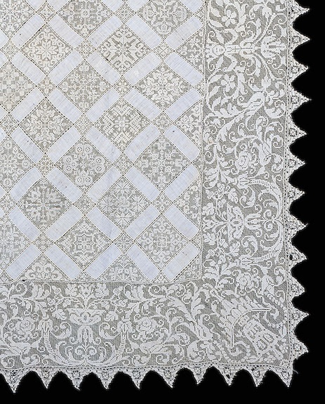 Tablecloth Embroidered with a Grotesque Motif  Filet net (ground), linen threads; embroidery. 123x144 cm  France. 16th century