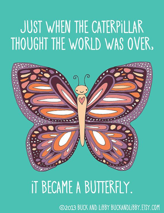 Butterfly Quote Illustration Print by BuckAndLibby on @Etsy    Just when the caterpillar thought the world was over, it became a butterfly. #transformation #inspirational #encouragement