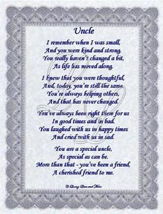 Short Poems for Uncles | Uncle poem is for that uncle who means so much to you and is also your ...