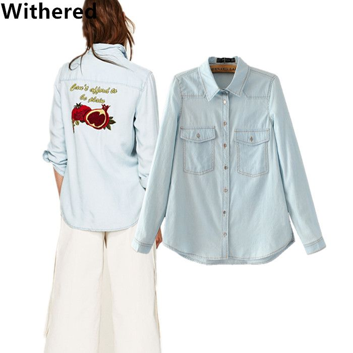 Withered women denim blouse and shirt 2017 women new arrival european style washed fruits embroidery denim shirt plus size