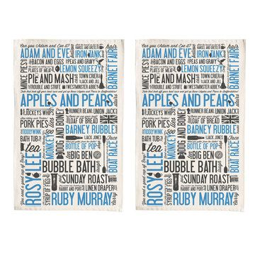 Cockney Rhyming Tea Towel Blue, $20, now featured on Fab.