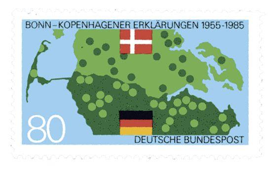 REPÚBLICA FEDERAL DE ALEMANIA, 1985 Mapa que muestra la ubicación de hablantes de alemán y danés en la zona fronteriza de ambos países. Alude a las declaraciones de Bonn y Copenhague que garantizan la libertad de la población danesa asentada en Alemania para hablar su idioma materno, y de la población germana ubicada en Dinamarca para hablar alemán, en la zona de Schleswig, compartida por los dos países.