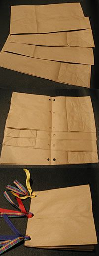 http://www.scrapjazz.com/topics/Scrapbook_Basics/Album_Ideas/527.php Álbum feito com sacos de papel. Tutorial em: Paper Bag Albums