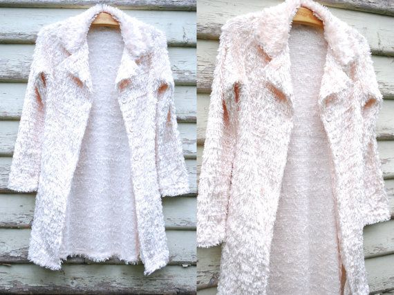 90s Vintage Cream White Shaggy Jacket Long Length Grunge Clubkid Kawaii Vtg 1990s Size S-M