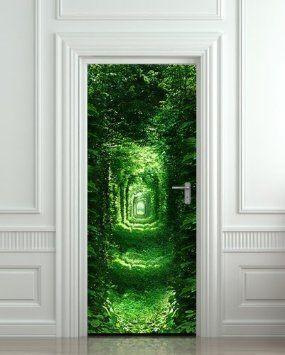 "Amazon.com - GIANT Door STICKER forest green tunnel rabbit hole wanderland, mural, decole, film 30x79"" (77x200 Cm)"