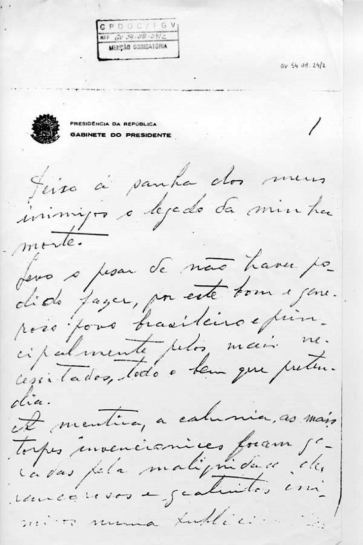 Carta Testamento de Getulio Vargas - 24/08/1954 http://www.sohistoria.com.br/ef2/getulio/