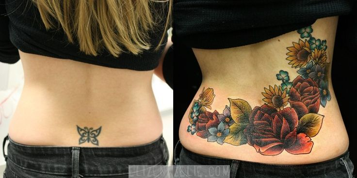 Colorful flower tattoo idea to cover lower back tattoo.