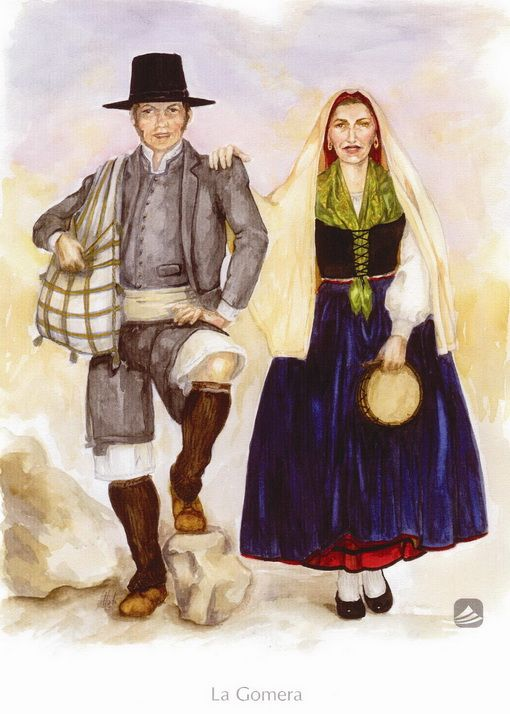 'La Gomera'. Trajes de domingo. Siglo XIX. , BienMesabe.org