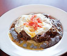 Breakfast chackewe with carne adovada and eggs from the Pueblo Harvest Cafe...mmm. Great recipe.