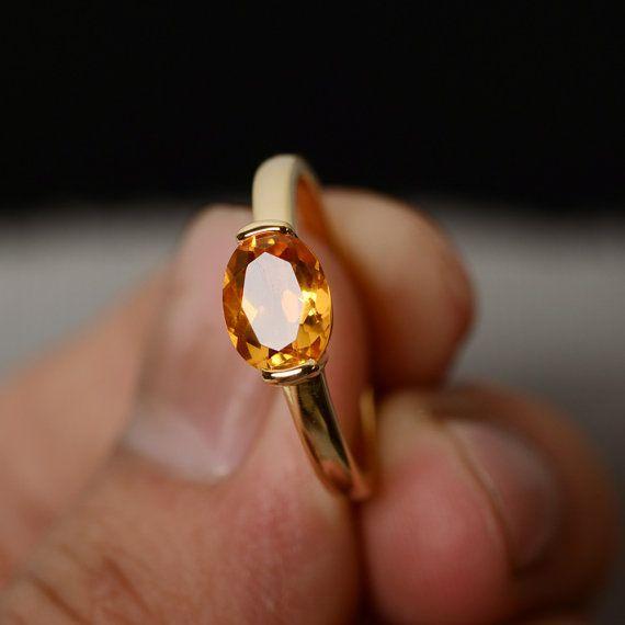 Bague Citrine naturelle Solitaire bague pierres précieuses naturelles bague bague cristal jaune ovale Quartz bague argent
