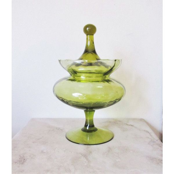 Green glass candy dish midcentury modern green glass dish footed glass... ($35) ❤ liked on Polyvore featuring home, kitchen & dining and serveware