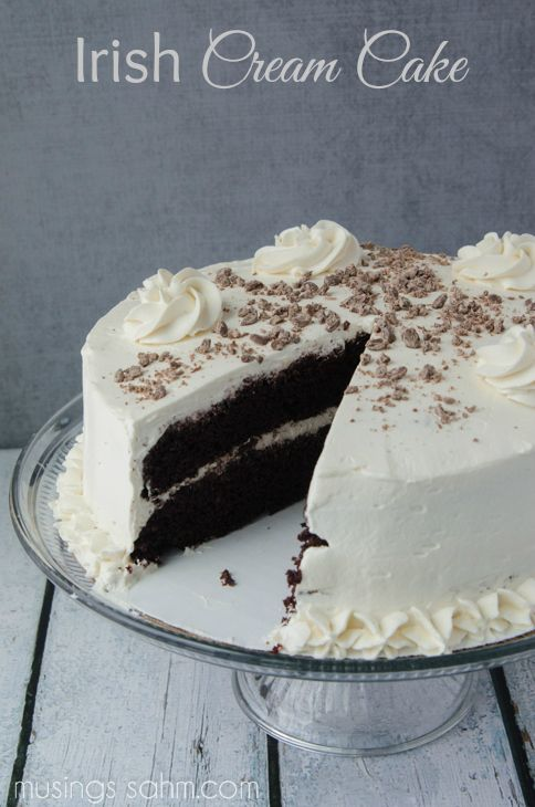 Irish Cream Cake #recipe - The moist chocolate cake and flavorful real whipped cream frosting are so light, you'll have a hard time saying no to a second piece of this Best Irish Cream Cake! And of course, it includes real Bailey's Irish Cream, which gives the cake its perfect flavor.