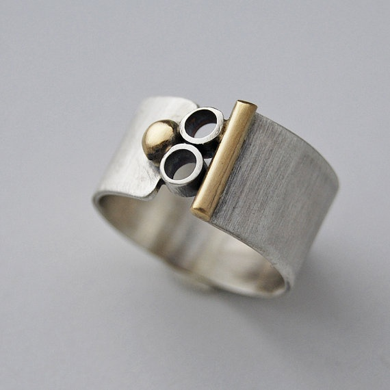 Silver and Gold Mod Ring by cyndiesmithdesigns on Etsy,