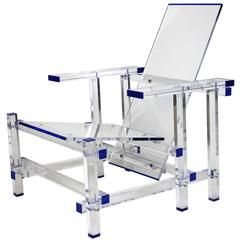 Modernist CLEAR Lucite Lounge Chair Inspired by Gerrit Rietveld in MoMA Museum