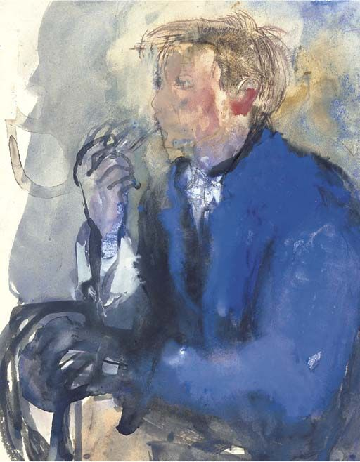 Joan Eardley (1921-1963), Young Man with Pipe, watercolour and bodycolour, 13 x 10 in. (33 x 25.4 cm.)