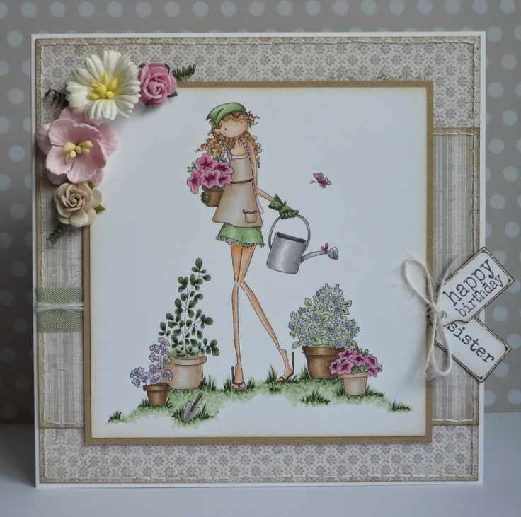 Birthday card with a garden theme and featuring a Stamping Bella rubber stamp