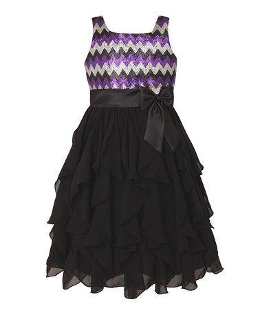 Love this Purple & Black Chevron Ruffle Dress - Girls on #zulily! #zulilyfinds Young girls