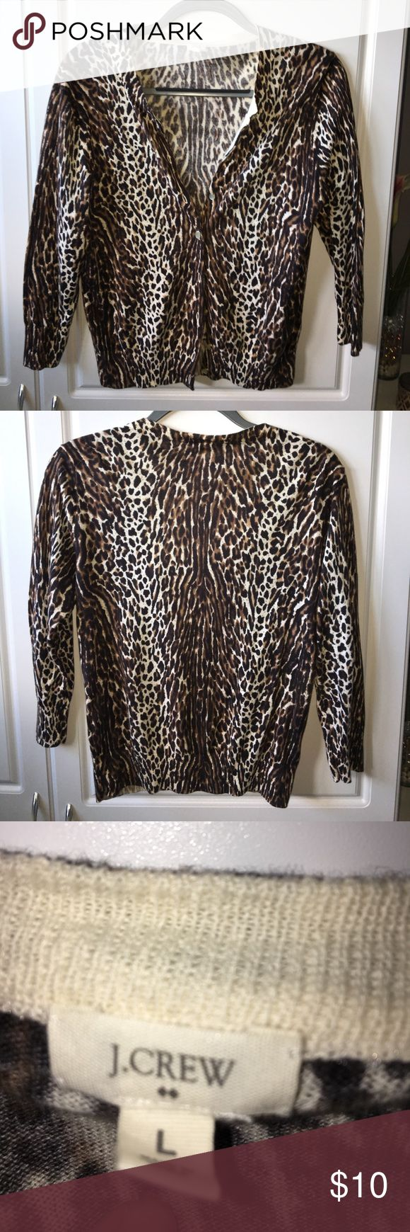 J Crew cheetah cardigan J. Crew Cheetah print cardigan. 3/4 sleeves. Extra button included. Great shape. J. Crew Sweaters Cardigans