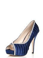 Womens *Quiz Navy Pleated Diamante Court Shoes- Navy