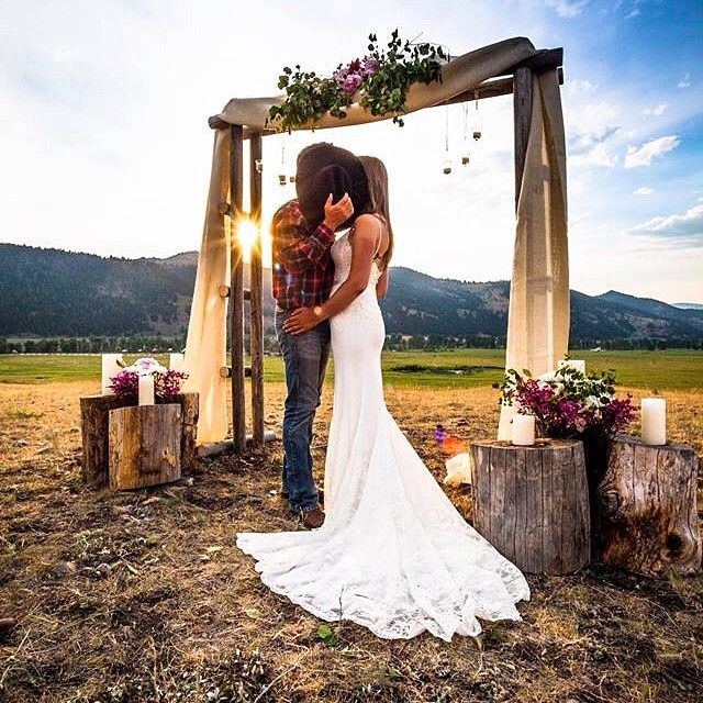 "143 Likes, 14 Comments - The Ranch At Rock Creek (@theranchatrockcreek) on Instagram: ""A classic #cowboy pose with his new #bride under the #bigsky of #Montana. Golden light on the…"""
