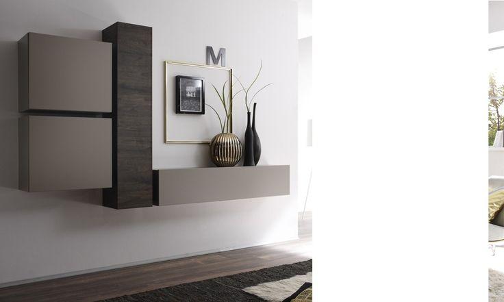 Ensemble de meubles suspendus FOUGERE, coloris wengé et gris mat 489€ hcommehome