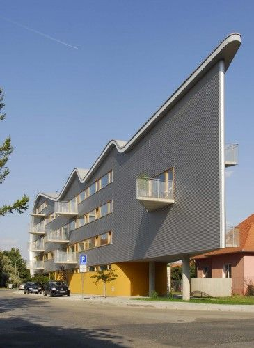"'Triangolo' apartment building's ""pointy"" end;  in Nitra, Slovakia;  designed by Sebastian Nagy"