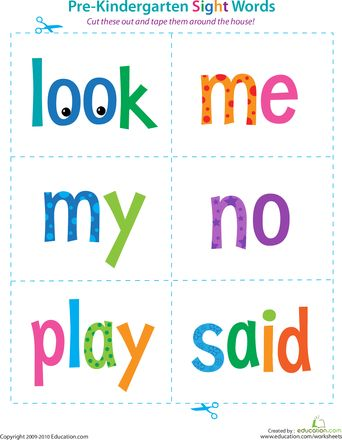 Love this- so helpful for a pre-k child who's already learning along side homeschool kids. Worksheets: Pre-Kindergarten Sight Words: Look to Said