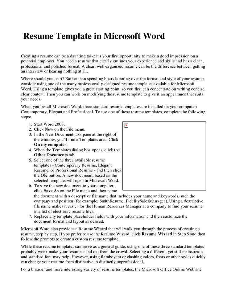 Microsoft Word Resume Template Resume Builder Resume   Http://www.jobresume.