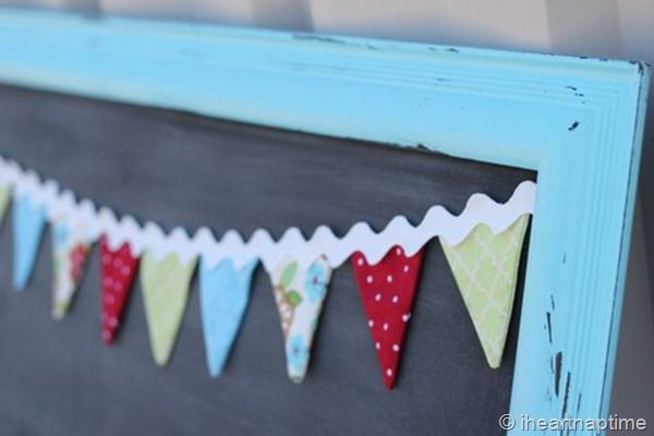 sweet little bunting on chalkboard - love the ric rac - i will add bunting to my kitchen chalkboard!
