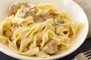 Cheesy Stroganoff - Should add minced onions, garlic powder, seasoned salt and Worcestershire sauce for better flavor.  Cut down  on Cheese to about 5-6 oz.