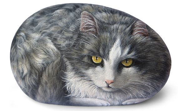 Custom Cat Portrait Incredibly Detailed Totally Hand Painted on a Sea Stone | Painted Rocks on Commission by the Artist Roberto Rizzo